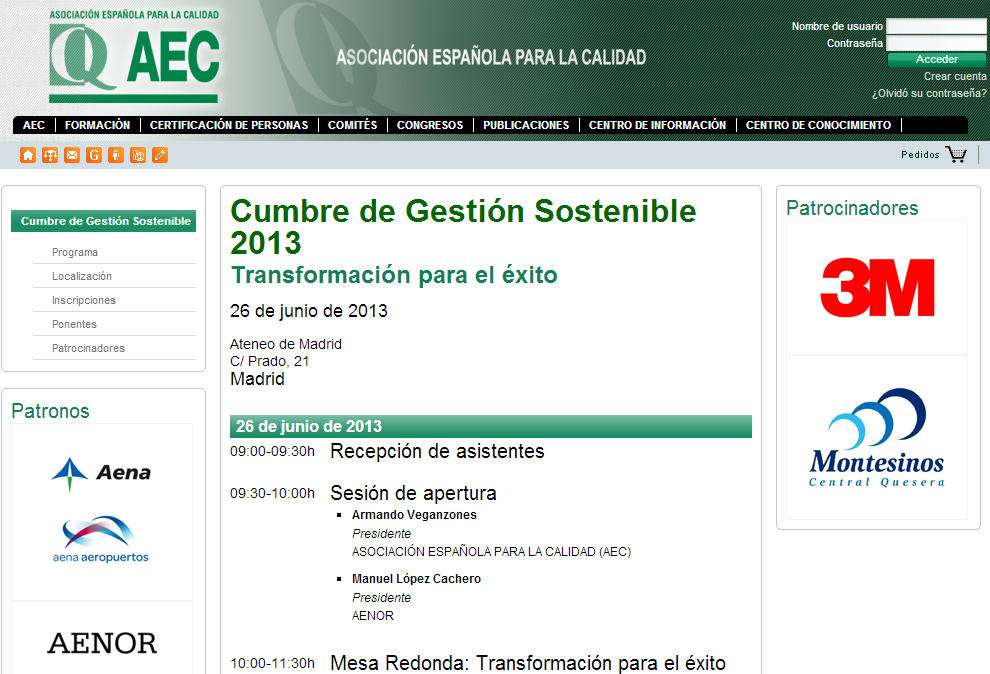 Santiago Consultores presente el 26/6/13 en la 5ª Cumbre de Gestión Sostenible de AEC en Madrid