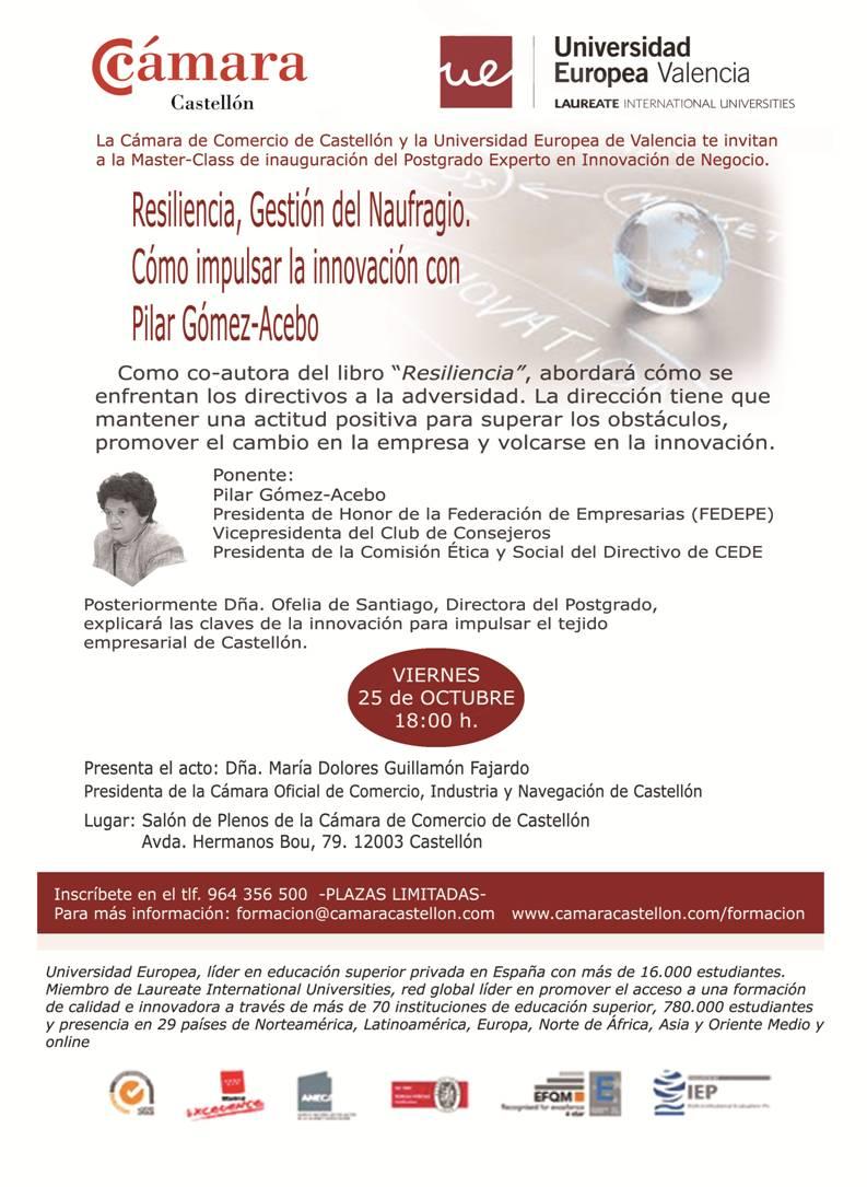 Pilar Gómez Acebo inaugura el postgrado de Experto en innovación de la UEV en Castellón