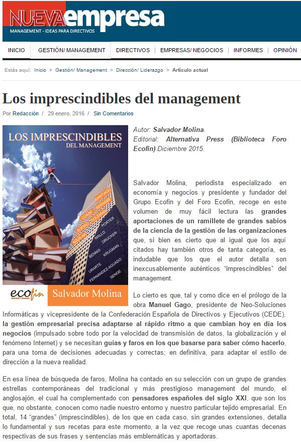 """Tres nuevas reseñas sobre el libro """"Los imprescindibles del management"""""""