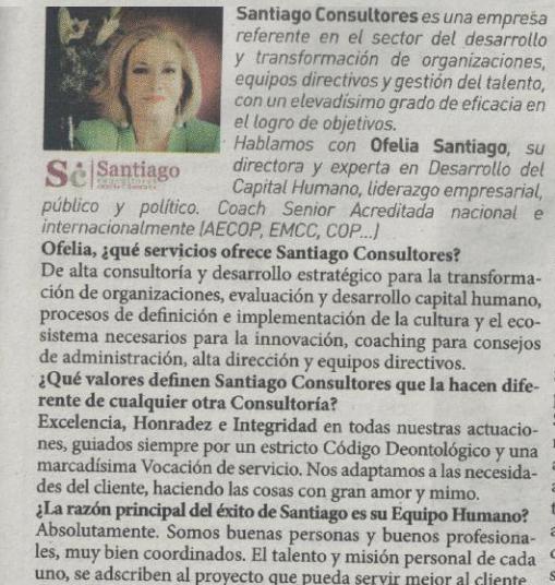 Santiago Consultores seleccionado por el diario ABC para hablar de coaching como herramienta clave