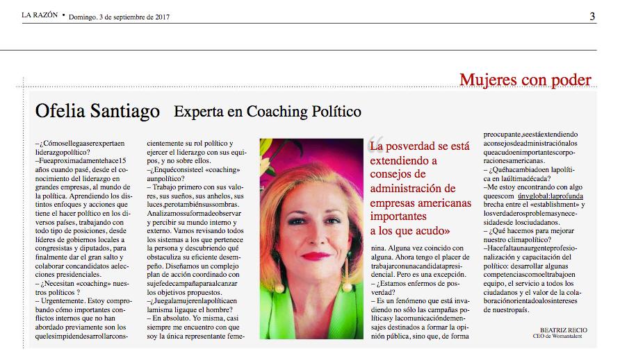 """Entrevista en """"Mujeres con Poder"""" diario La Razón"""