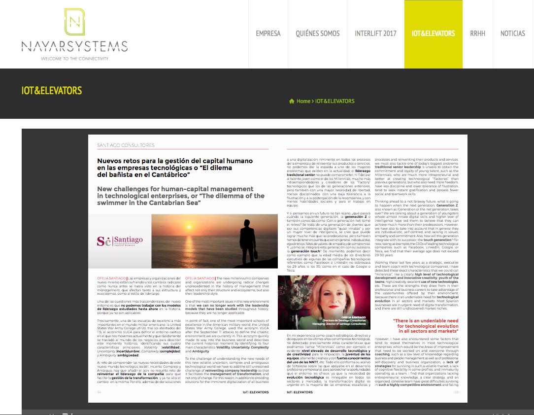 Artículo sobre retos de la gestión del capital humano en la revista de Nayar Systems
