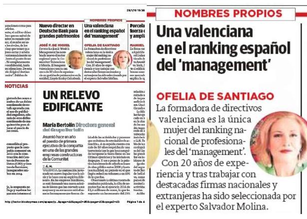 """Reseña en Las Provincias sobre mi aparición en el ranking de """"Los imprescindibles del management"""""""