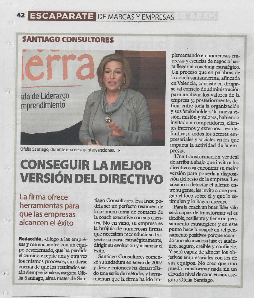 """Santiago Consultores habla de """"Conseguir la mejor versión del directivo"""" en Las Provincias"""