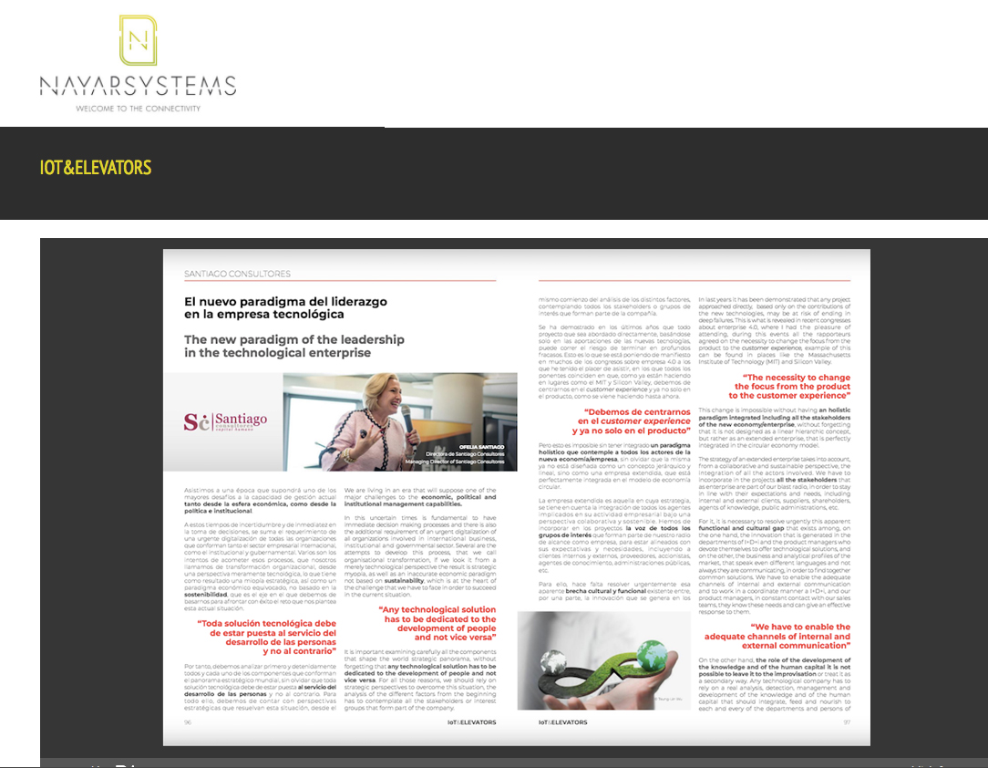 Reportaje sobre el nuevo paradigma de liderazgo en la revista de Nayar Systems